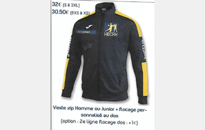 Veste Club zip Junior + flocage personnalisable au dos